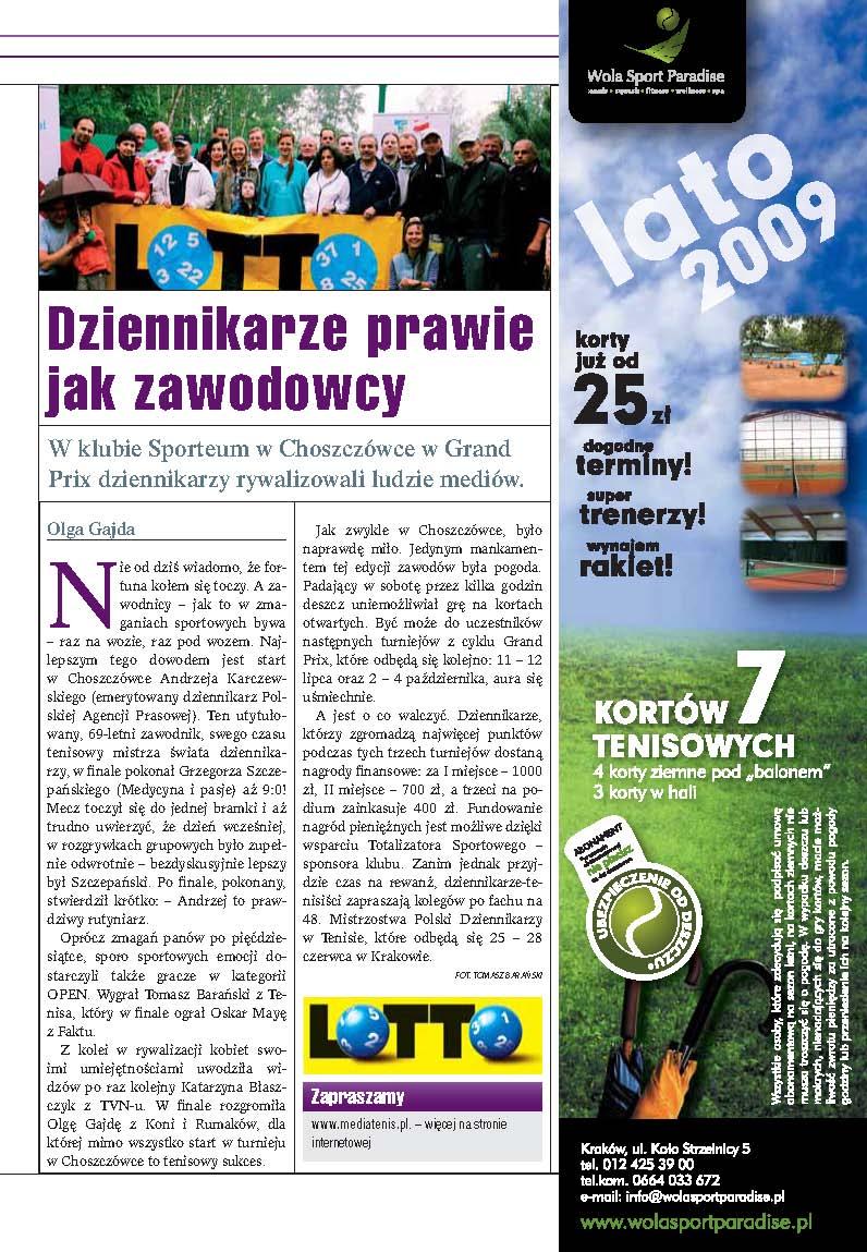Miesięcznik Tenis o Grand Prix Dziennikarzy 2009