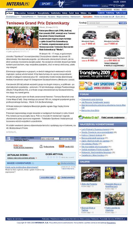 Interia.pl o Grand Prix Dziennikarzy 2009