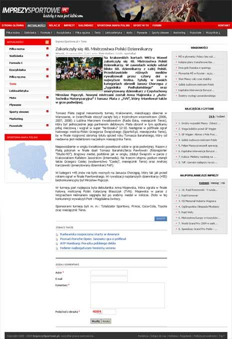 Imprezysportowe.pl o Mistrzostwach Polski Dziennikarzy 2009