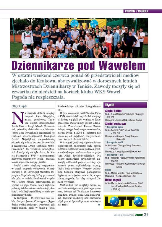 Mistrzostwa w Krakowie w miesięczniku TENIS