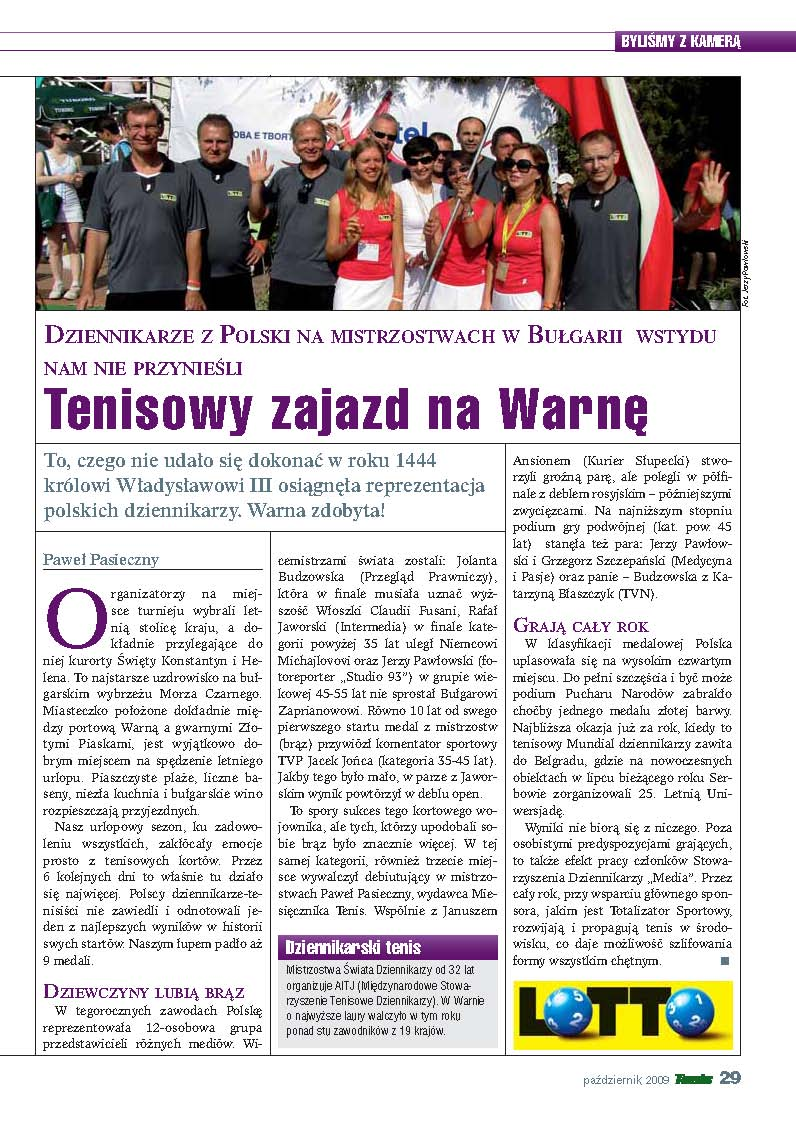 Miesięcznik TENIS o Mistrzostwach Świata w Warnie