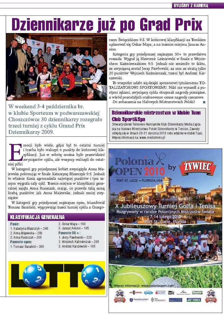 Grand Prix Dziennikarzy 2009 w miesięczniku Tenis